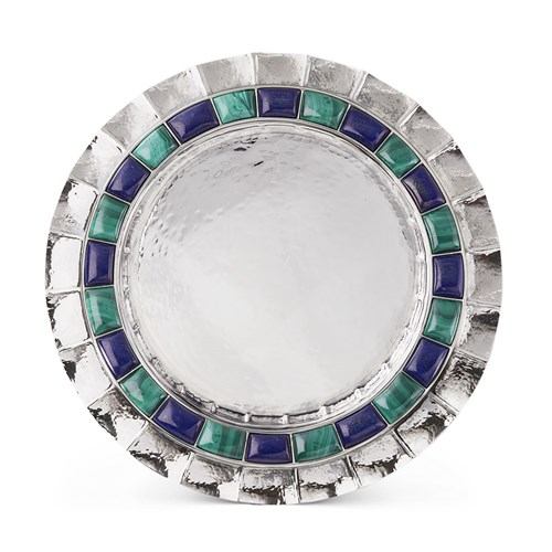 Buccellati Doge Malachite and Lapis Sterling Silver Plate