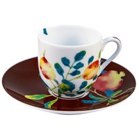 Raynaud Harmonia Coffee Cup White & Brown Saucer in Gift box