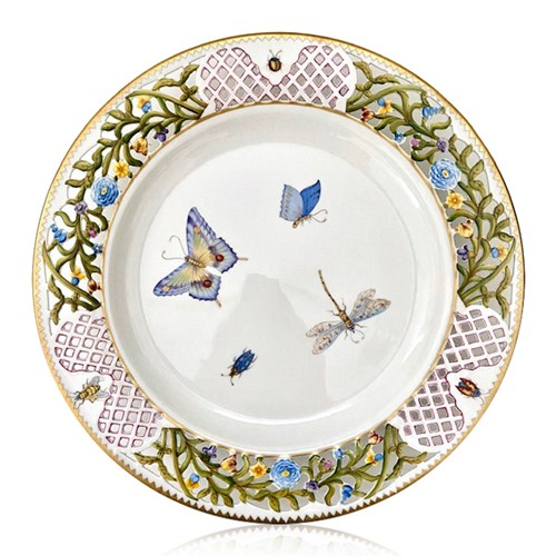 Anna Weatherley Lace Butterfly Dinner Plate, Raspberry