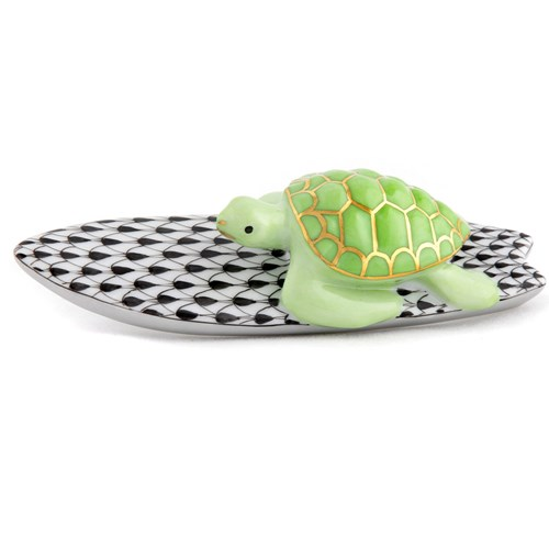 Herend Surfing Key Lime Turtle with Black Surfboard