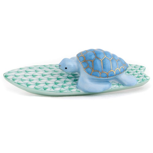Herend Surfing Blue Turtle with Green Surfboard