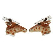 Sterling Silver & Enamel Giraffe Head Cufflinks