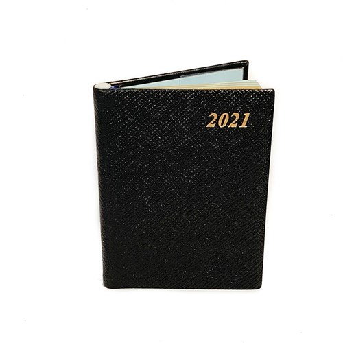 2021 Small Crossgrain Leather Diary with Pencil, Black
