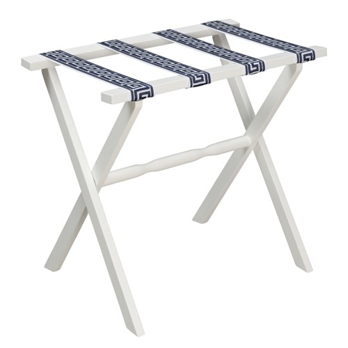 White Luggage Rack with White & Navy Greek Key Straps