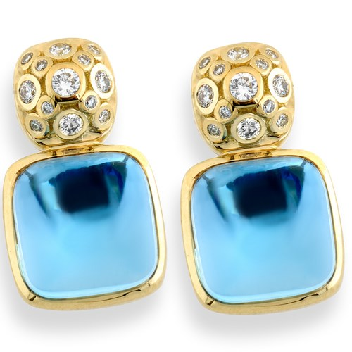 18k Gold Diamond & Blue Topaz Earrings, Posts