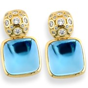 18k Gold Diamond & Blue Topaz Earrings