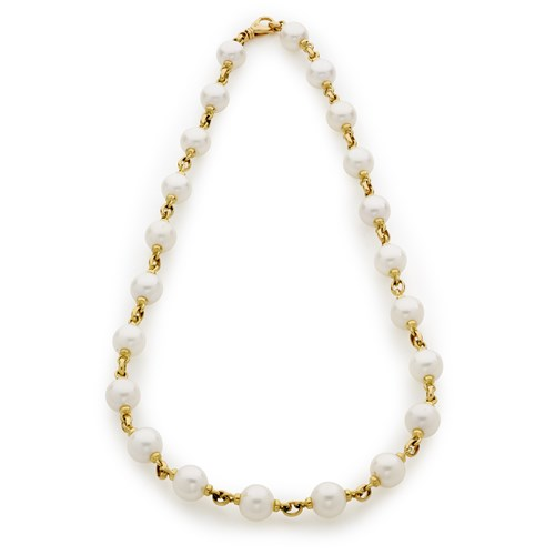 18K Gold Connected Pearl Necklace