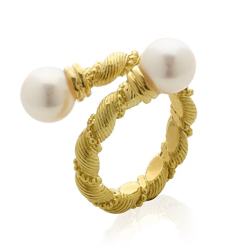 18K Gold Double Twist Pearl Ring