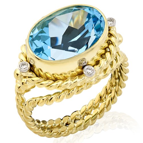 18K Oval Faceted Blue Topaz Rope Ring
