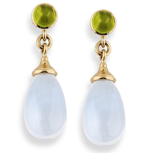 18K Gold Moon Quartz Drop with Peridot Earrings, Posts Only