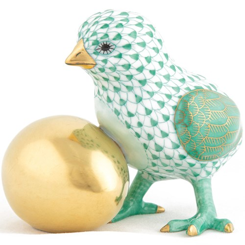Herend Baby Chick with Egg Green