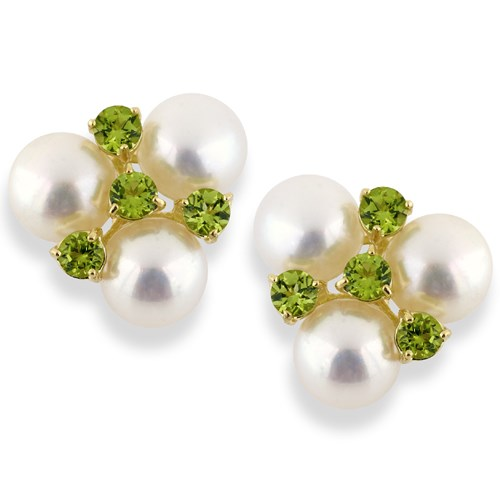 18k Yellow Gold Pearl and Peridot Earrings, Clips