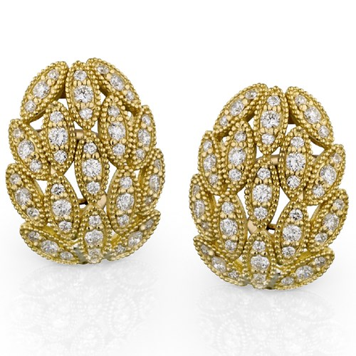 18k Leaves Pave Diamond Earrings, Clips