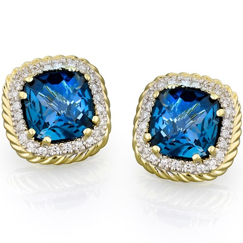 18k Twisted Rope London Blue Topaz Earrings, Clips