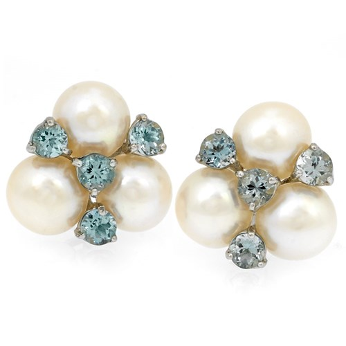 18k Pearl and Sky Blue Topaz Earrings, Posts
