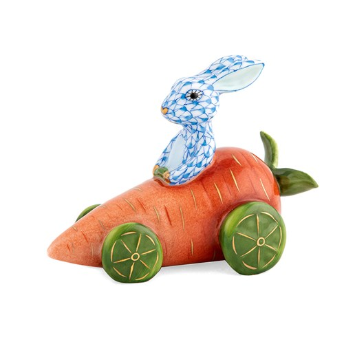 Herend Carrot Car Bunny Blue