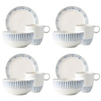 Juliska Sitio Stripe Indigo 12-Piece Breakfast/Lunch Set