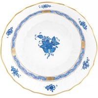 Herend Chinese Bouquet Blue Scalloped Dinner Bowl