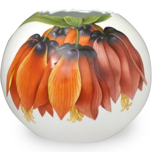 Herend Floral Oval Vase, Orange