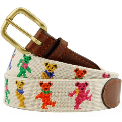 Dancing Bears on Oatmeal Needlepoint Belt, Size 28