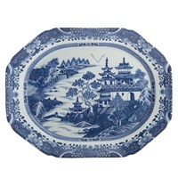 Mottahedeh Blue Canton Oval Platter, Medium