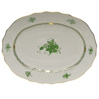 Herend Chinese Bouquet Green Oval Platter, Large