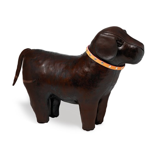 Leather Labrador Footstool, Medium