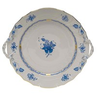 Herend Chinese Bouquet Blue Chop Plate with Handles