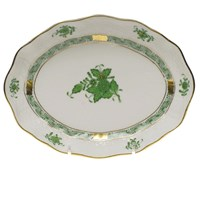 Herend Chinese Bouquet Green Oval Dish, Small