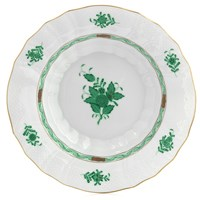Herend Chinese Bouquet Green Rim Soup Bowl, Large