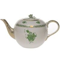 Herend Chinese Bouquet Green Teapot with Rose Finial, Extra Large
