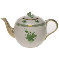 Herend Chinese Bouquet Green Teapot with Rose Finial, Large