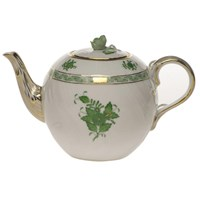 Herend Chinese Bouquet Green Teapot with Rose Finial, Medium