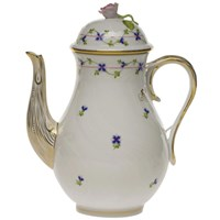 Herend Blue Garland Coffee Pot with Rose Finial