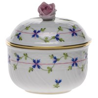 Herend Blue Garland Covered Sugar Bowl with Rose Finial, Medium