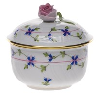 Herend Blue Garland Covered Sugar Bowl with Rose Finial, Small