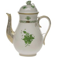 Herend Chinese Bouquet Green Coffee Pot with Rose Finial, Large