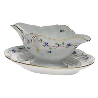 Herend Blue Garland Gravy Boat with Fixed Stand