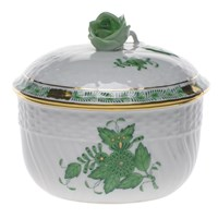 Herend Chinese Bouquet Green Covered Sugar Bowl, Large