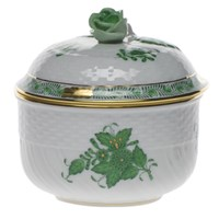 Herend Chinese Bouquet Green Covered Sugar Bowl, Medium