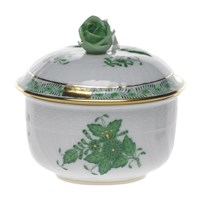 Herend Chinese Bouquet Green Covered Sugar Bowl, Small