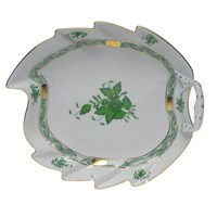 Herend Chinese Bouquet Green Leaf Dish, Large