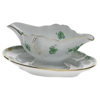 Herend Chinese Bouquet Green Gravy Boat with Stand