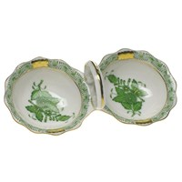 Herend Chinese Bouquet Green Twin Salt
