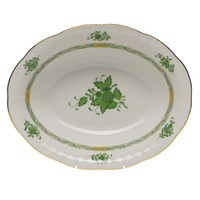 Herend Chinese Bouquet Green Oval Vegetable Dish