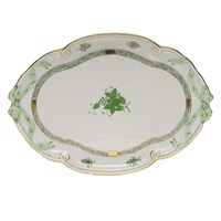 Herend Chinese Bouquet Green Ribbon Tray