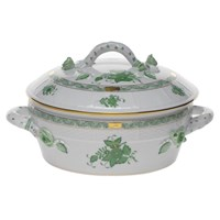 Herend Chinese Bouquet Green Covered Vegetable Dish with Branch, Medium