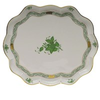 Herend Chinese Bouquet Green Scalloped Tray
