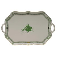 Herend Chinese Bouquet Green Rectangular Tray with Handles