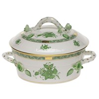 Herend Chinese Bouquet Green Covered Vegetable Dish, Small